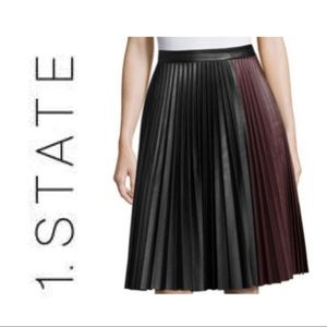 1.STATE Black Faux Leather Pleated Midi Skirt